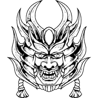 Devil mask samurai silhouette