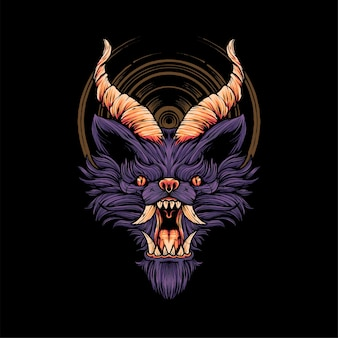 Devil wolf head ilustração t shirt ilustração premium vector