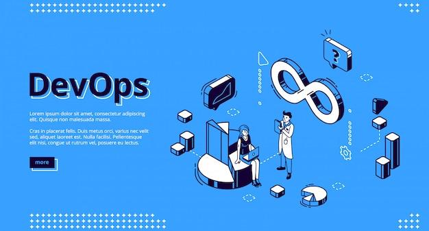 Devops design, desenvolvimento e operação isométricos de sites