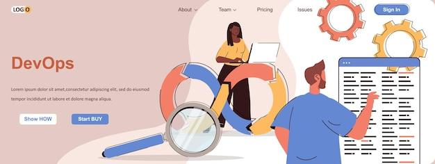 Devops web conceito organização ou monitoramento de comunicação de desenvolvimento de processos