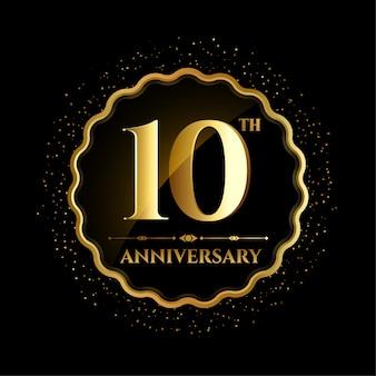 Dez aniversário em moldura dourada com faíscas