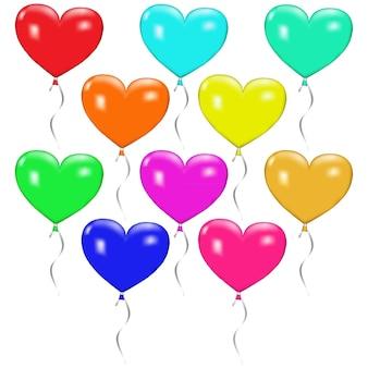 Dez balões multicoloridos em forma de coração com fitas