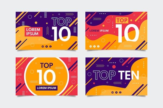 Dez banners de classificação principais