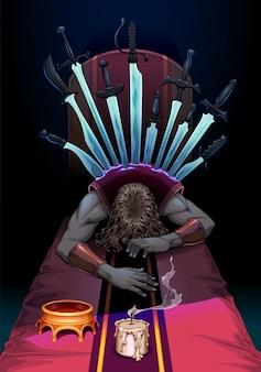 Dez de espadas. ilustração vetorial
