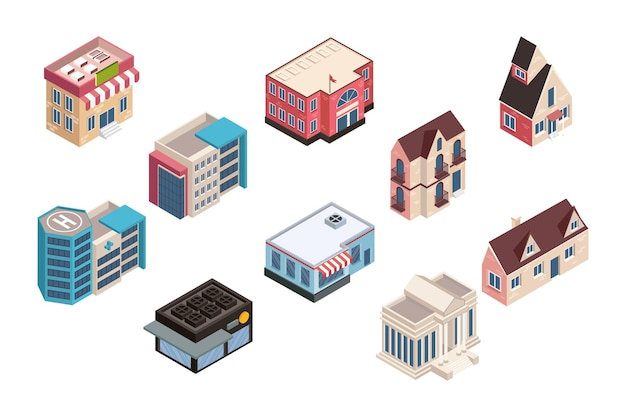 Dez edifícios isométricos