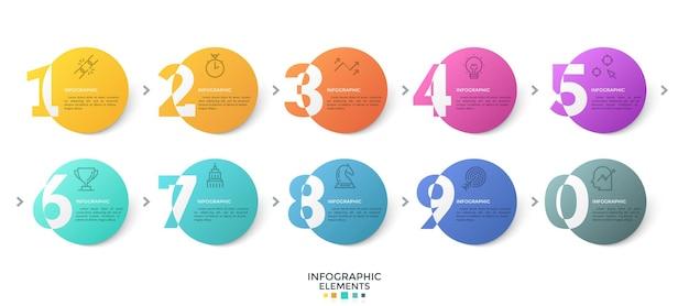 Dez elementos redondos coloridos com dígitos ou figuras conectadas por setas. modelo de design criativo infográfico. ilustração vetorial moderna para visualização de opções de negócios, interface do site.