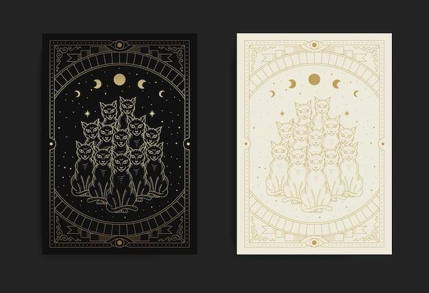 Dez gatos pretos místicos e mágicos, animais mitológicos na noite estrelada