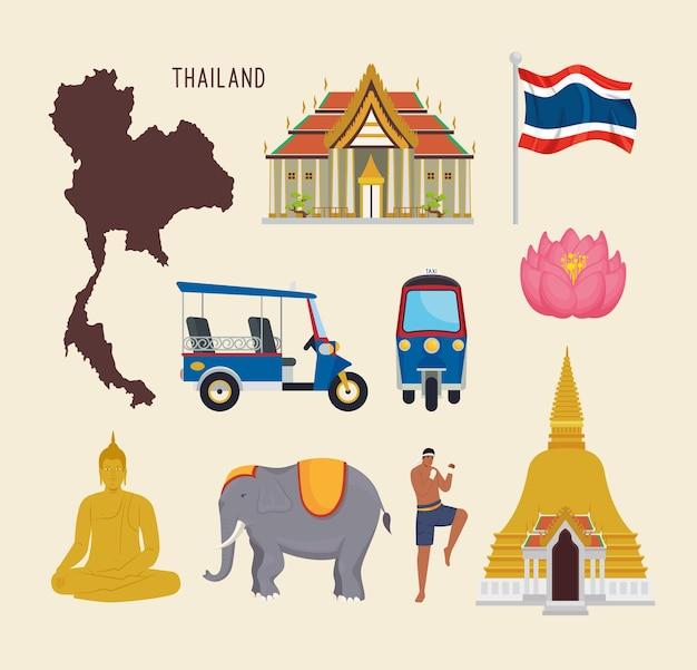 Dez ícones da tailândia