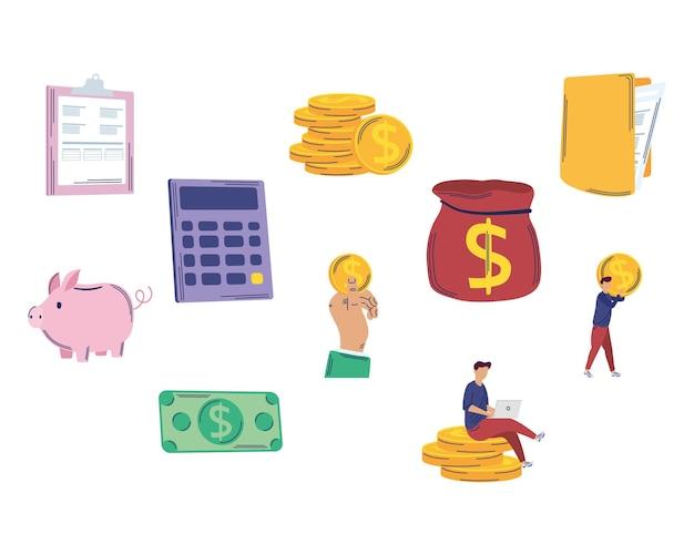 Dez ícones de conjunto de gerenciamento de economia