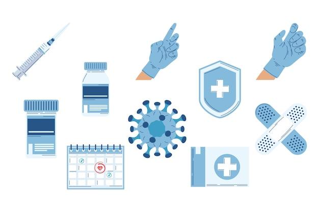 Dez ícones de conjunto plano de vacina