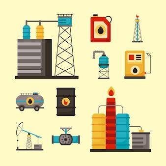 Dez ícones de conjuntos de indústria de petróleo