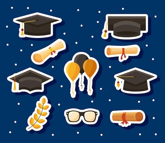 Dez ícones de graduados de parabéns