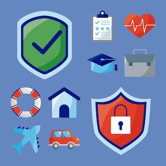 Dez ícones de serviços de seguros