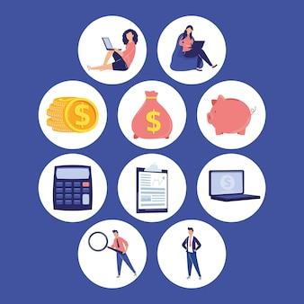 Dez ícones de serviços financeiros