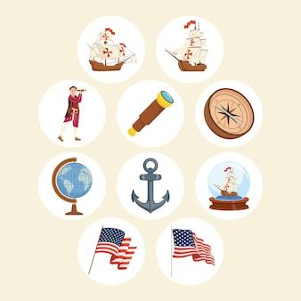 Dez ícones do dia de colombo