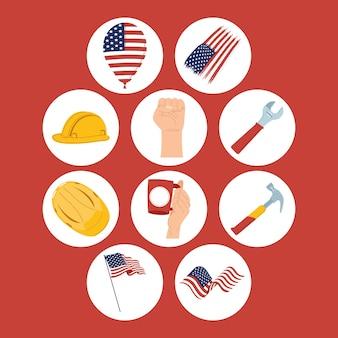 Dez ícones do dia do trabalho nos eua