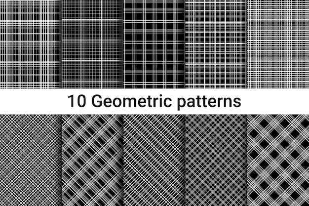 Dez padrões abstratos sem emenda. listras brancas em um fundo preto. linhas horizontais, verticais e diagonais. estilo estrito. ilustração vetorial.