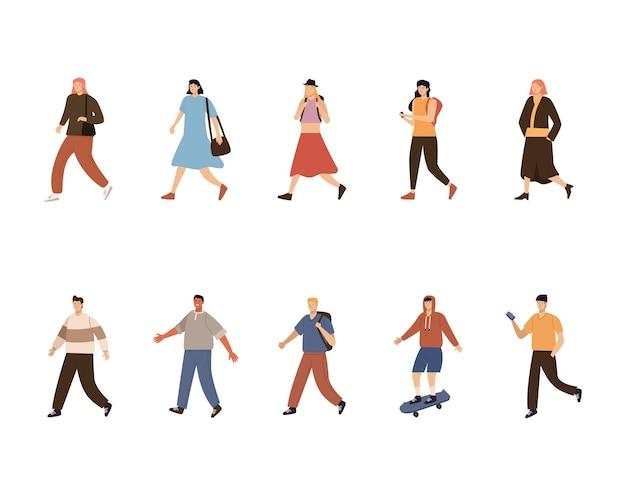 Dez pedestres caminhando