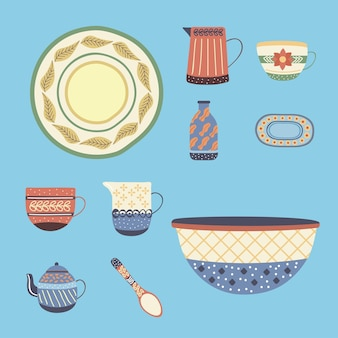 Dez pratos de porcelana de louças