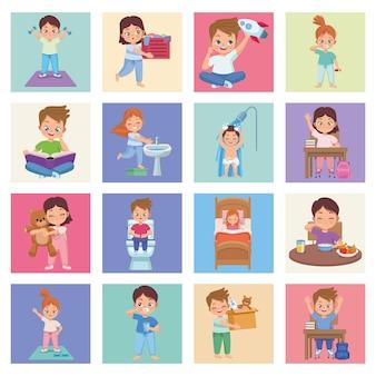 Dezesseis crianças praticando atividades