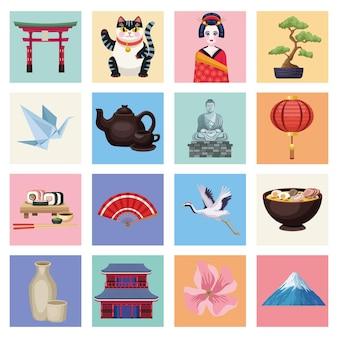 Dezesseis ícones country do japão