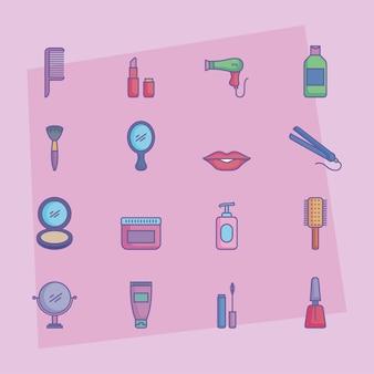 Dezesseis ícones de produtos de beleza