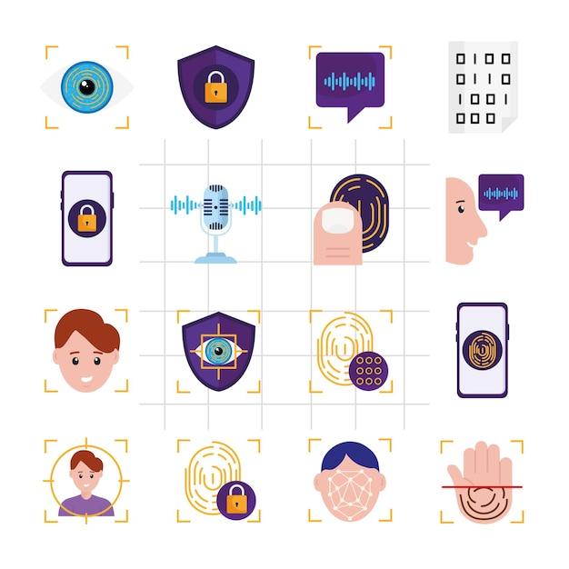 Dezesseis ícones de verificação biométrica