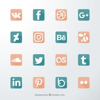 Dezesseis ícones para redes sociais