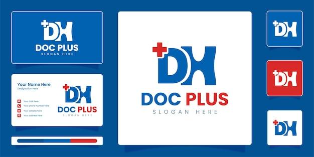 Dh initial letter logo médico e logotipo médico com modelo de design de vetor de identidade empresarial
