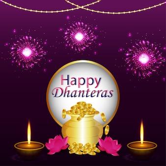 Dhanteras felizes, fundo de celebração diwali feliz com diya e pote de moedas de ouro