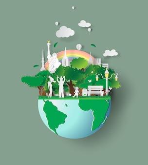 Dia amigável do ambiente do conceito de família do eco.