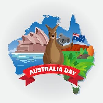 Dia australiano com canguru e coala