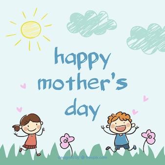 Dia caligrafia cartão de desenho da mãe