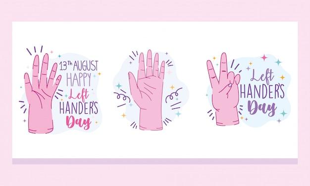 Dia canhotos, mão lettering celebração dos desenhos animados
