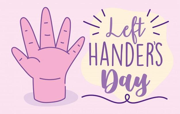 Dia canhotos, mão mostrando cinco dedos cartum celebração