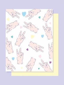 Dia canhotos mãos mãos paz e amor gesto design