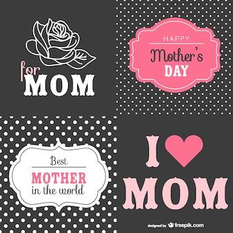 Dia cartões de retro mãe definir