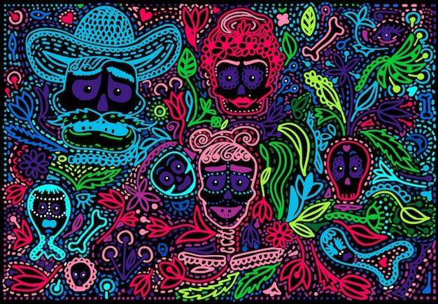 Dia colorido do crânio morto de açúcar com ornamento