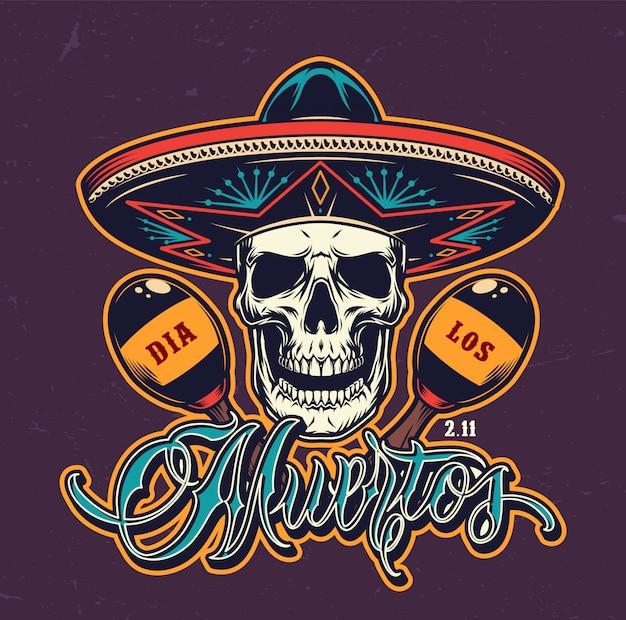 Dia colorido mexicano de logotipo morto