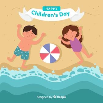 Dia crianças, crianças, costa, fundo