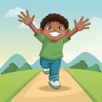 Dia crianças felizes. menino dos desenhos animados com estrada da paisagem