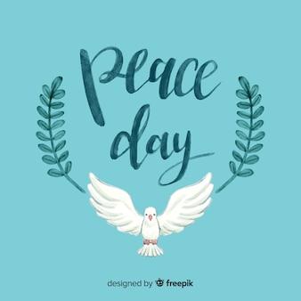 Dia da aguarela da composição da paz com pomba branca