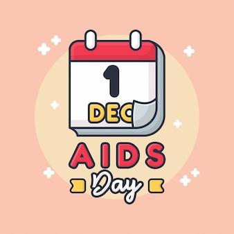 Dia da aids cartão da ilustração do cumprimento de 1