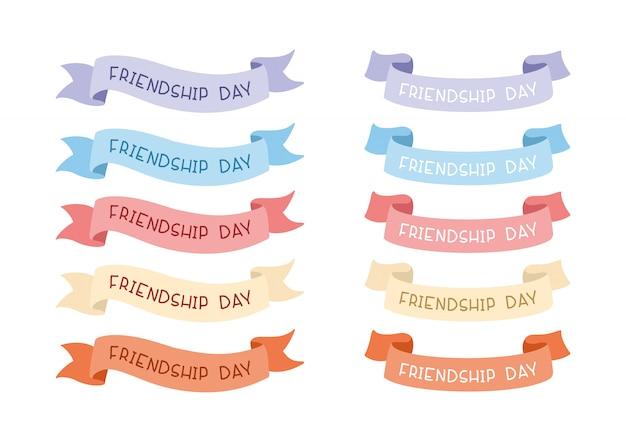 Dia da amizade. coleção de fitas multicoloridas para inscrições