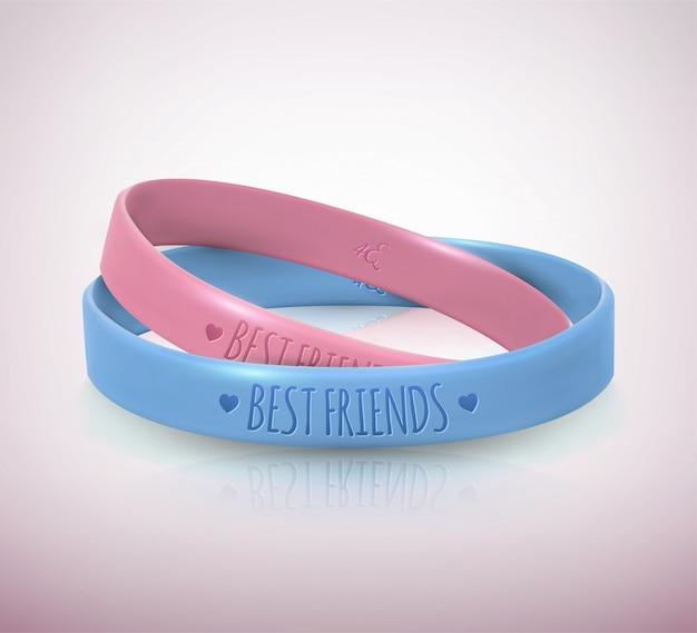 Dia da amizade. duas pulseiras de borracha para amigos