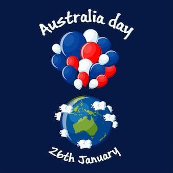 Dia da austrália, 26 de janeiro cartão com globo mapa austrália, monte de balões azuis, vermelhos e brancos, nuvens e texto. ilustração em vetor dos desenhos animados em estilo simples.