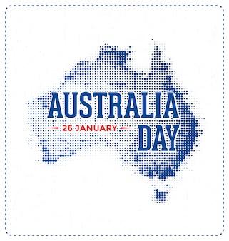 Dia da austrália - 26 de janeiro - design tipográfico com mapa de meio-tom