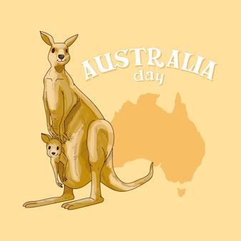 Dia da austrália com a mãe canguru