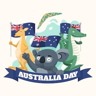Dia da austrália com animais