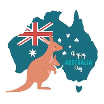 Dia da austrália com canguru e mapa